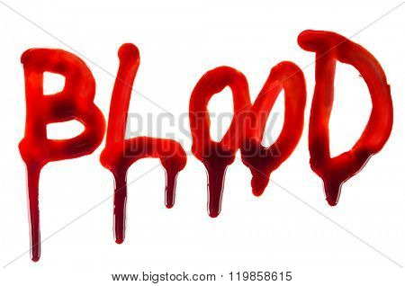 Splattered blood stains on white background, close-up.