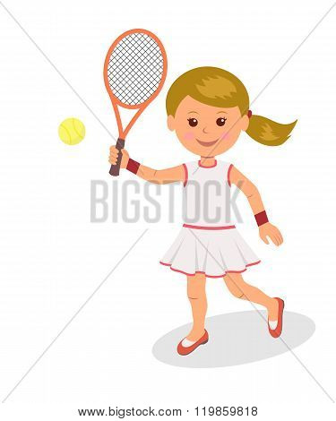 Girl plays tennis. The isolated character of a woman with racket and tennis ball on a white backgrou
