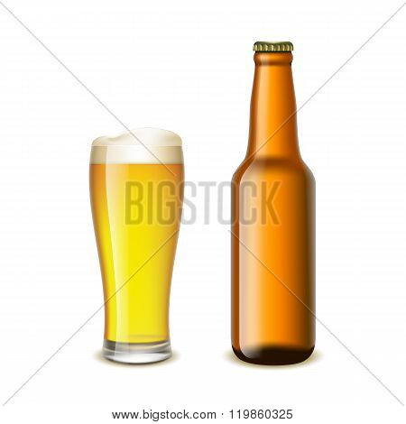 Glass And A Bottle Of Beer
