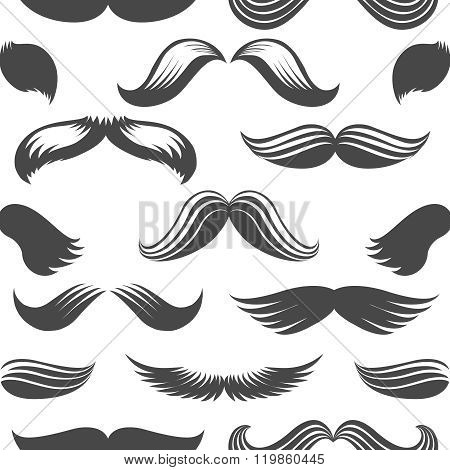 Black And White Moustaches Seamless Pattern