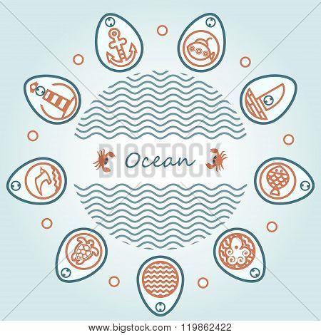Lettering Ocean In Circle