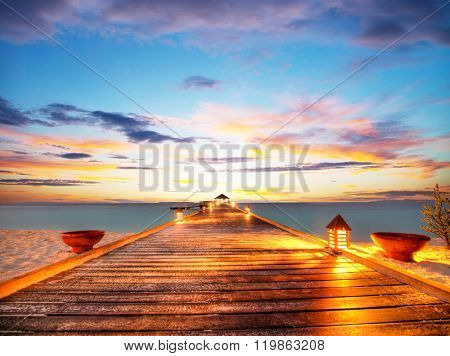 Wooden jetty in sunset