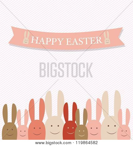 Happy easter cards with Easter bunnies. Vector illustration.