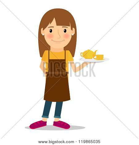 Waitress with tea pot and cup
