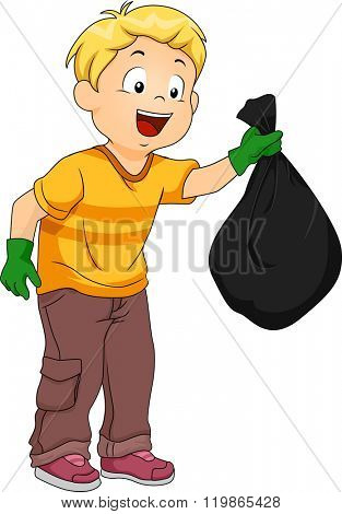 Illustration of a Boy Handling a Plastic Garbage Bag