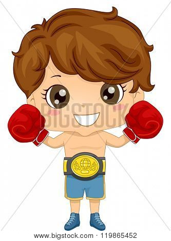 Illustration of a Boy wearing a Boxer Costume