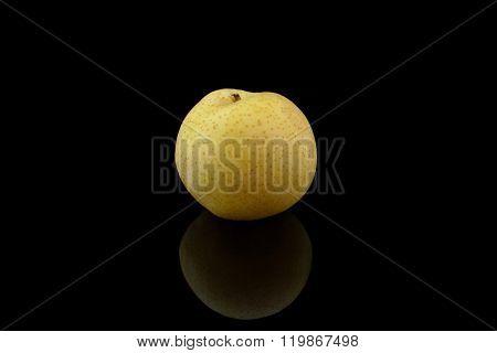 Nashi Pear On Glossy Black Background