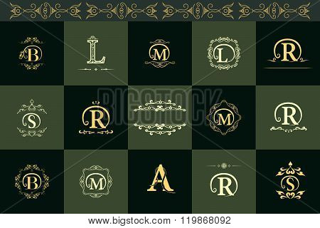 Monogram Design Elements, Graceful Template. Elegant Line Art Logo Design. Letter B, L, R, A, S, M