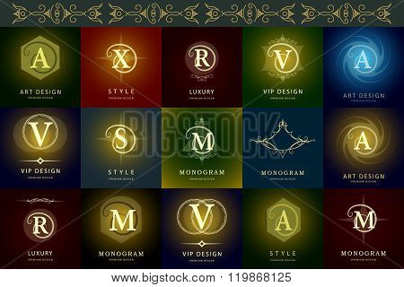 Monogram Design Elements, Graceful Template. Elegant Line Art Logo Design. Letter A, X, R, V, S, M