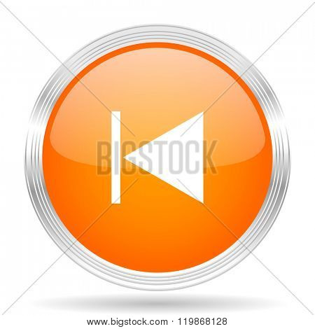 prev orange silver metallic chrome web circle glossy icon