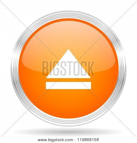 eject orange silver metallic chrome web circle glossy icon