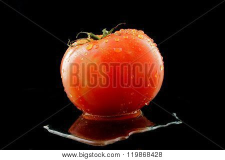 A Flesh Tomato With Water On Black Background