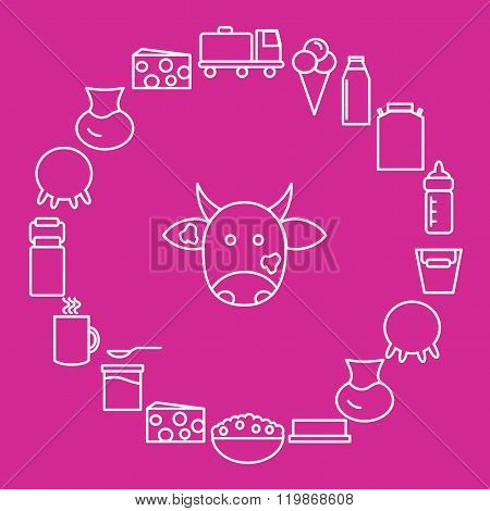 Milk and dairy products are located around the cow's head on a pink background.