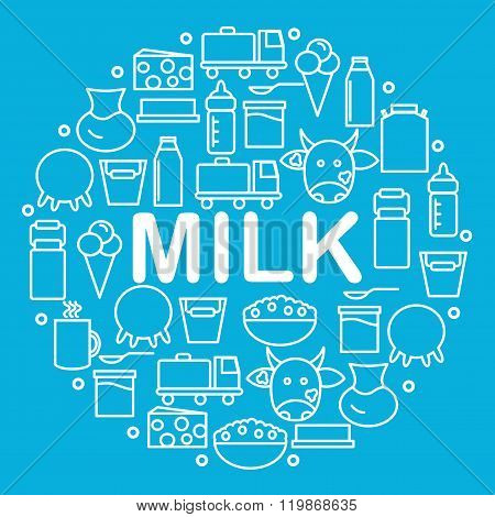 Milk and dairy products are located inside a circle on a blue background.