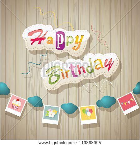 happy birthday card on  wooden texture