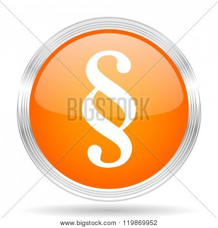 paragraph orange silver metallic chrome web circle glossy icon