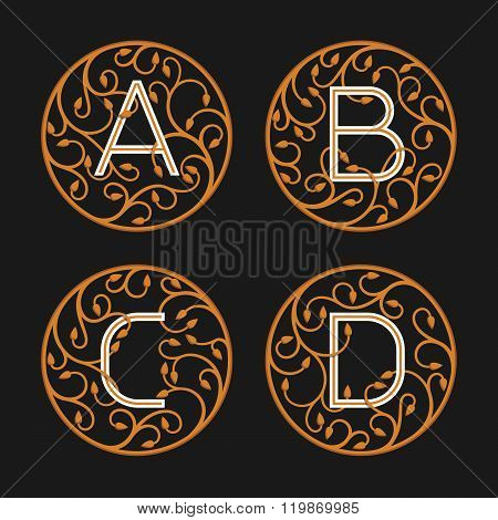 Decorative Initial Letters A, B, C, D.