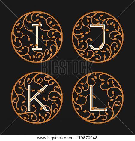 Decorative Initial Letters I, J, K,L.