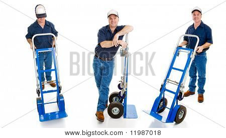 Three different views of a delivery man with his hand truck.  Full body isolated on white.