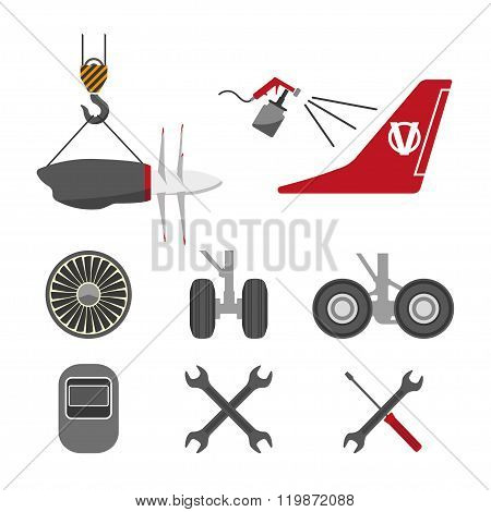 Set Of Aircraft Parts On White Background. Flat Vector Icons Set. Aircraft Repair. Vector Illustrati