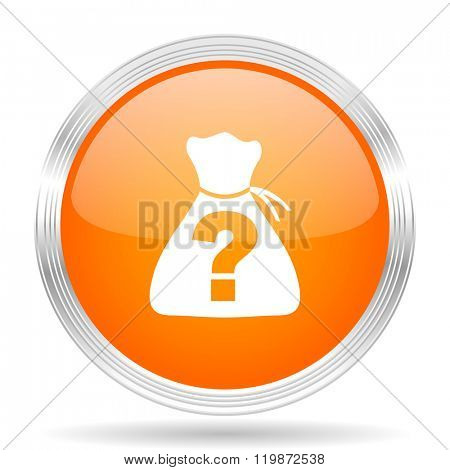 riddle orange silver metallic chrome web circle glossy icon