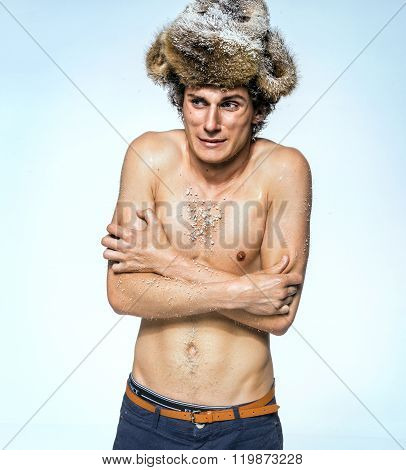 Shivering Man Frozen, Because Of Bad Winter Heating