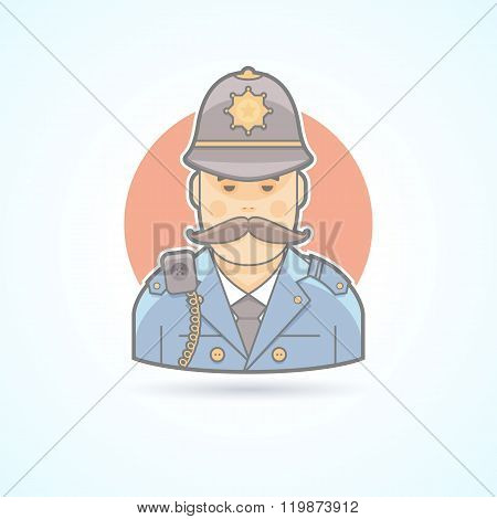 English policeman, british bobby icon. Avatar and person illustration. Flat colored outlined style.