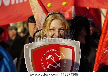 Moscow Russia - 7 Nowember 2015: A new generation of Communist party members with their slogans came to the demonstration in Moscow. The procession on the anniversary of the great October Socialist revolution