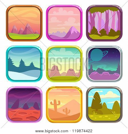 Rounded square app icons with nature landscapes