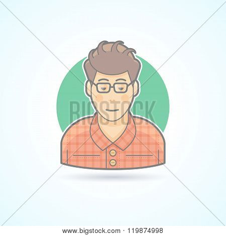 Nerd, student, hipster, smart guy icon. Avatar and person illustration. Flat colored outlined style.