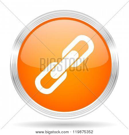 link orange silver metallic chrome web circle glossy icon