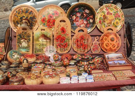 Kiev, Ukraine - september 04,2015: Ukrainian wooden souvenir ware on the street St. Andrew descent