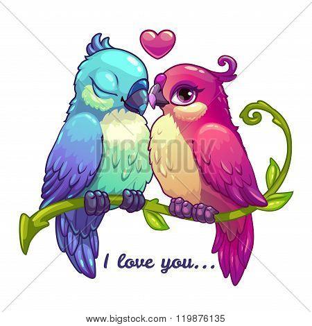 Cute birds couple in love