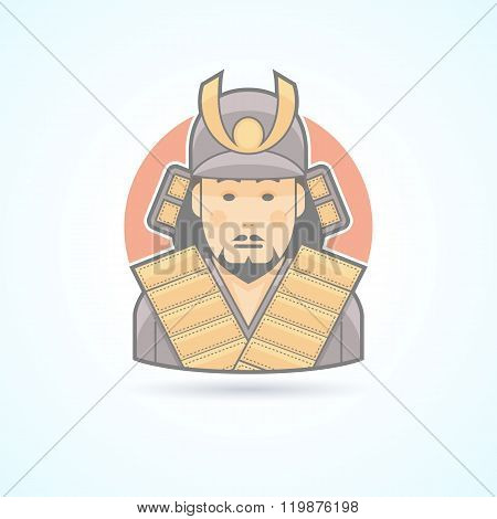 Samurai, japanese warrior icon. Avatar and person illustration. Flat colored outlined style.