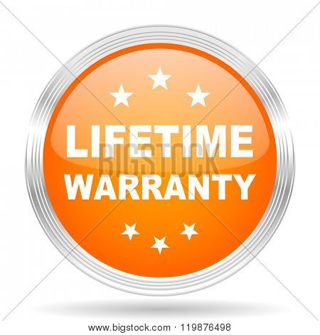 lifetime warranty orange silver metallic chrome web circle glossy icon