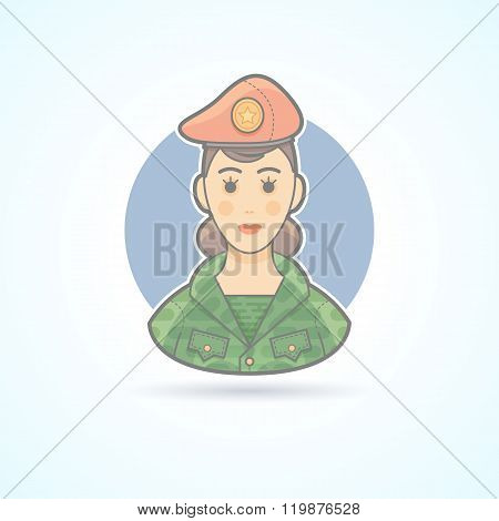 Army soldier woman, servicewoman icon. Avatar and person illustration. Flat colored outlined style.