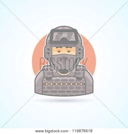 Special Forces soldier, commando. officer icon. Avatar and person illustration. Flat colored outline