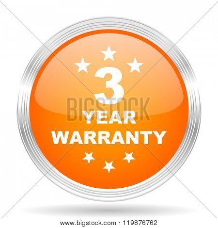 warranty guarantee 3 year orange silver metallic chrome web circle glossy icon
