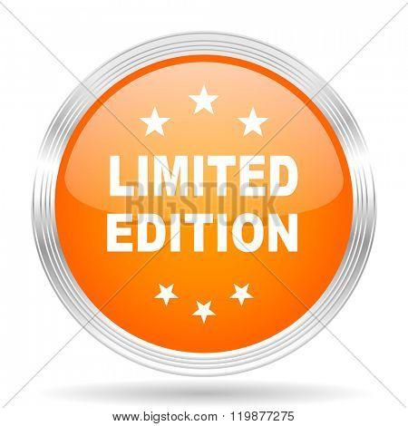 limited edition orange silver metallic chrome web circle glossy icon