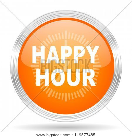 happy hour orange silver metallic chrome web circle glossy icon