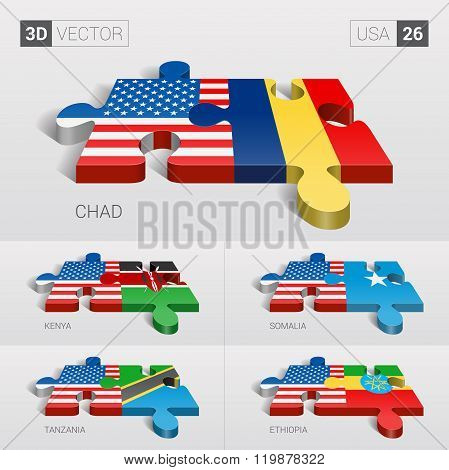 USA Flag. 3d vector puzzle. Set 26.