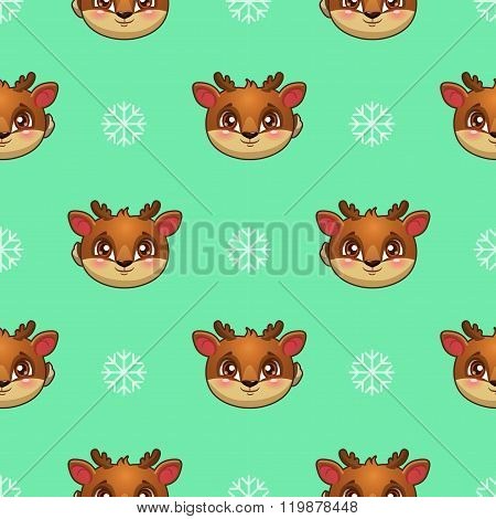 Seamless pattern with funny deer