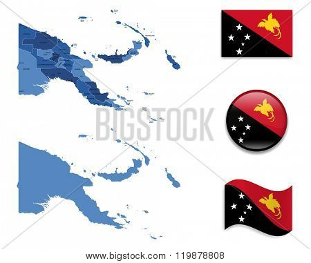 High Detailed Map of New Papua New Guinea With Flag Collection