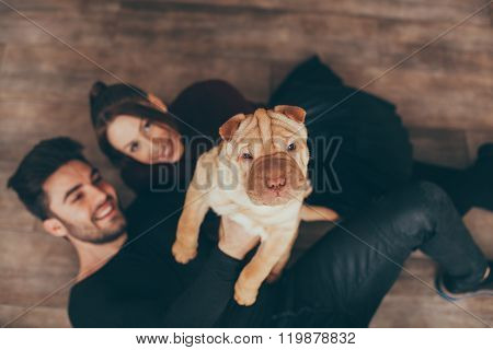 Happy Couple Holding Shar Pei Puppy