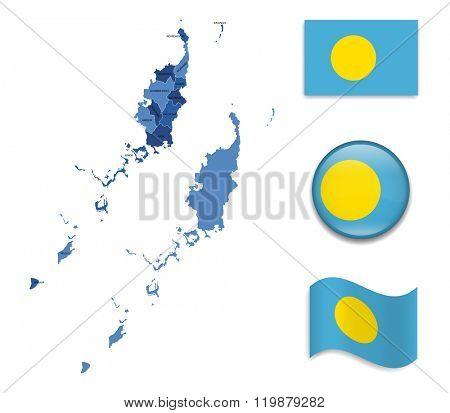 High Detailed Map of Palau With Flag Collection