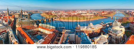 Panorama of Old town and Elbe, Dresden, Germany