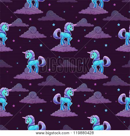 Pattern with little cartoon blue unicorn