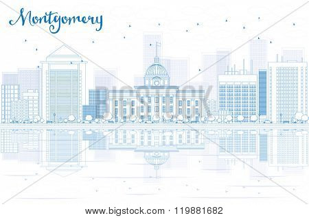 Outline Montgomery skyline with blue buildings and reflections. Vector illustration. Business travel and tourism concept with place for text. Image for presentation, banner, placard and web site.