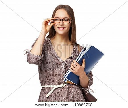 Beautiful Female Student With Books Isolated On White.