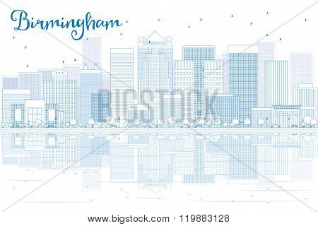 Outline Birmingham skyline with blue buildings and reflections. Vector illustration. Business travel and tourism concept with place for text. Image for presentation, banner, placard and web site.